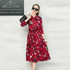 Women Floral Printed Chiffon Fabric Long Sleeve Long Maxi Pleated Dress