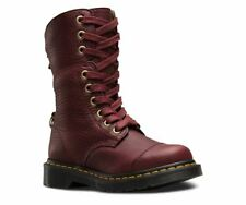 Dr Martens Aimilita Cherry Red Leather 9 eyelet Boot Tartan Lining