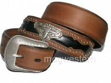3D Western Mens Belt Inlay Studs W/ Longhorn Concho Brown 8812-Size 40