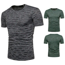 Trend Summer Men's Clothing Crew Neck T-Shirt Short Sleeve Striped Casual Shirt