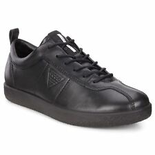 Ecco Soft 1 Black Womens Leather Lace-up Low-profile Shoes Trainers