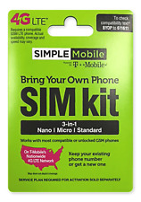 #1 Simple Mobile Preloaded $25 plan pin activated Sim Card 30 DAYS 3GB LTE 4G