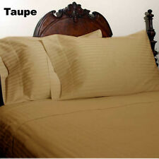1000TC EGYPTIAN COTTON  COMPLETE HOME BEDDING ITEM UK SIZES TAUPE STRIPED