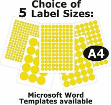 YELLOW Round Laser Copier Inkjet Labels 5 A4 Sheets Self-Adhesive Stickers