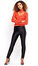 Ladies High Waisted Shiny Disco American Style Buttoned Pant Legging 6 8 10 12