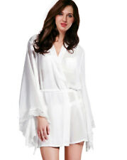Womens Sleepwear Sheer Silky Satin Robe Kimono Gown with Belt Babydoll Lingerie