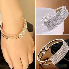 Women Silver Gold Pleated Round Shape Crystal Material Cuff Bracelet Bangle N571