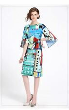 Women New Fashion Half Sleeve Casual Floral Printed Knee-length Dress