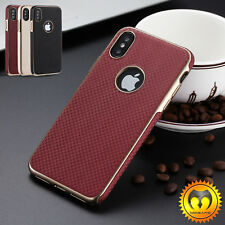 For iPhone X 10 7/  Plus Luxury Leather Ultra Thin Hybrid Protective Case Cover