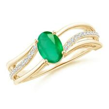 Solitaire Oval Natural Emerald Diamond Accents Ring in Silver/ Gold