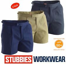 """PACK OF 2 STUBBIES MENS DRILL """"UTILITY"""" TAB SIDE REINFORCED WORK SHORTS BB5513"""