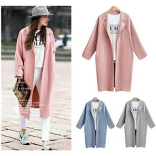 Women Winter Warm Outwear Wool Lapel Long Slim Trench Parka Coat Jacket Overcoat
