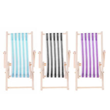 Baoblaze Striped Wooden Lounge Chair for 1/12 Dollhouse Miniature Furniture