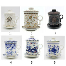 Chinese Porcelain Tea Cup antique Infuser 4-Piece Set with Tea Cup Lid and Sauce