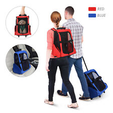 Cat Travel Backpack Carrier Paw Hut Pet Luggage Box Dog w/Rolling Wheels Stand