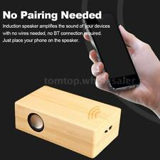 Wooden Portable Induction Speaker Wireless Amplifier Loudspeaker Music Box Q7H6