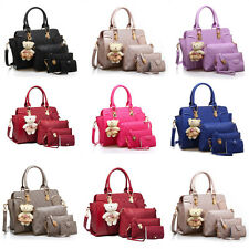 Fashion Women 5PCS PU Leather Handbag Set Shoulder Tote Messenger Bags Purse Bag