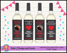 ** CUSTOM PERSONALISED VALENTINES DAY GIFT WINE BOTTLE LABELS GIFTS PRESENTS **