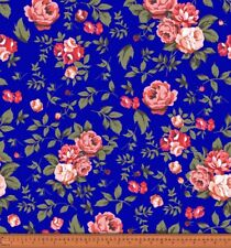 Soimoi 44 Inches Wide Rose Floral Printed 20 GSM Pure Silk Fabric By The Yard