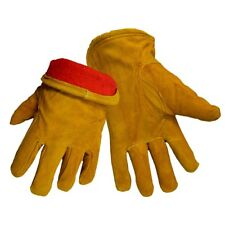 Global Glove Split Cow Leather Work Gloves with Red Fleece Lining, 12 Pair