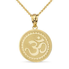 Solid 10k Yellow Gold Hindu Spiritual Symbol Om Yoga Disc Pendant Necklace