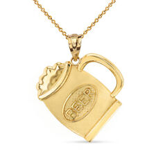 14k Yellow Gold Cold Beer Mug Disc Pendant Necklace