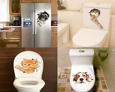 3D Cats Dogs Wall Stickers Bathroom Toilet Decoration Funny Animals Kitty Decals