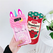 3D unicorn Strawberry Strap Glitter soft case Cover for samsung galaxy note 8 S9