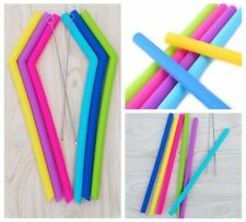 Food Grade Silicone Drinking 6Pcs Reusable Straight Bending Straws with Brushes