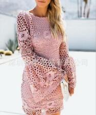 Women Bell Sleeve Hollow Out Solid Scoop Neck Long Sleeve Slim Fit Short Dress