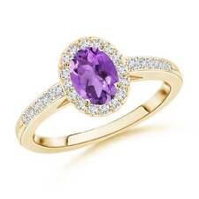 Oval Natural Amethyst Diamond Halo Engagement Ring Gold/Platinum Size 3-13