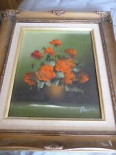 Vintage style oil painting red roses floral in gold ornate coloured frame