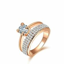 Crystal Decorated Gold Color Cubic Zirconia Finger Ring For Women