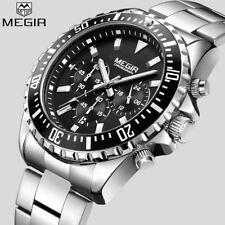 MEGIR Top Luxury Brand Watch Men Analog Chronograph Quartz Wrist Watch Full Stai