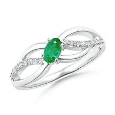 Diagonal Oval Natural Emerald Criss Cross Ring with Diamond Accents Size 3-13