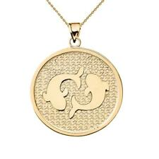 Solid 10k Yellow Gold Pisces Zodiac Disc Pendant Necklace