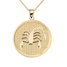 Solid 14k Yellow Gold Scorpio Zodiac Disc Pendant Necklace