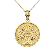 Solid 10k Yellow Gold Diamond Cuts Celtic Knot Cross Disc Pendant Necklace