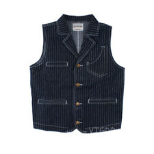 Men's Denim Foreman Vest Motorcycle Striped Lapel Jacket Waistcoat For Rider