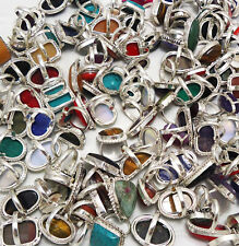Lapis & Mix Gemstone Wholesale Lot 50pcs 925 Sterling Silver Handmade Rings