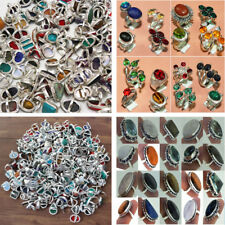 Larimar Mix & Multi Gemstone 925 Sterling Silver Wholesale lot Rings All Sizes