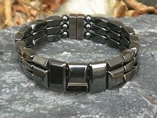 Men's Women's !00% Black Magnetic Bracelet Anklet SUPER STRONG Clasp 3 row
