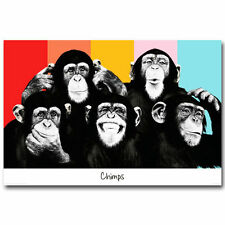 Art The Chimps Funny Monkey Face Canvas Fabric Poster 1387