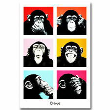 Art The Chimps Funny Monkey Face Print Canvas Fabric Poster 1301
