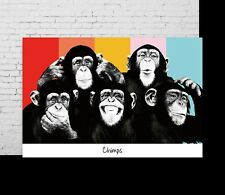 P-212 Art The Chimps Funny Monkey Face LW-Canvas Poster - 21 24x36in