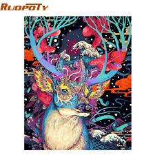RUOPOTY Christmas Deer DIY Painting By Numbers Animals Acrylic Paint By Numbers