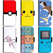PIN-1 Game Pokemon A Phone Wallet Flip Case Cover for Apple Sony