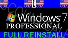 Windows 7 PRO Professional 32 or 64 INSTALL Restore Repair DISK - + Drivers Disk