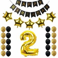 2nd Birthday Party Decoration Kit Banner Golden Black Balloon Party Supplies Set