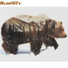 RUOPOTY Frame Picture DIY Painting By Numbers Animals Calligraphy Painting